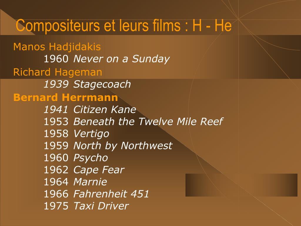 Compositeurs et leurs films : H - He