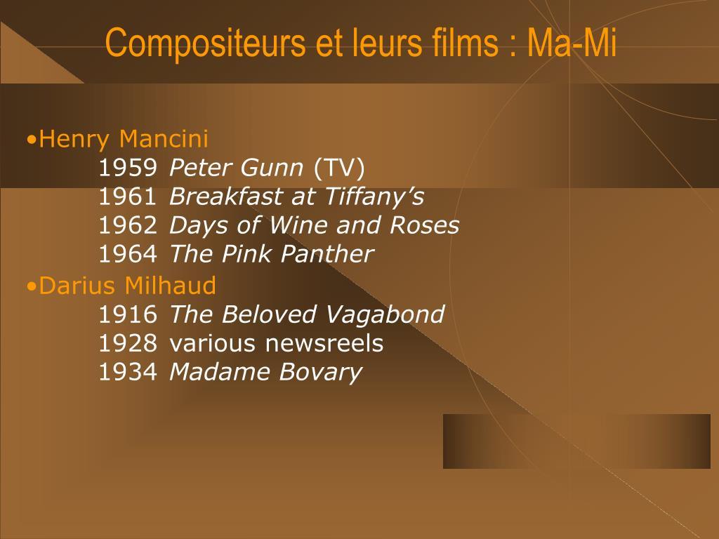 Compositeurs et leurs films : Ma-Mi