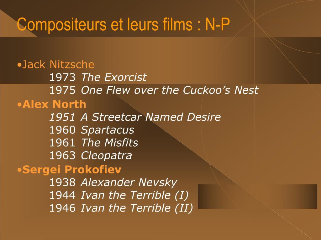 Compositeurs et leurs films : N-P
