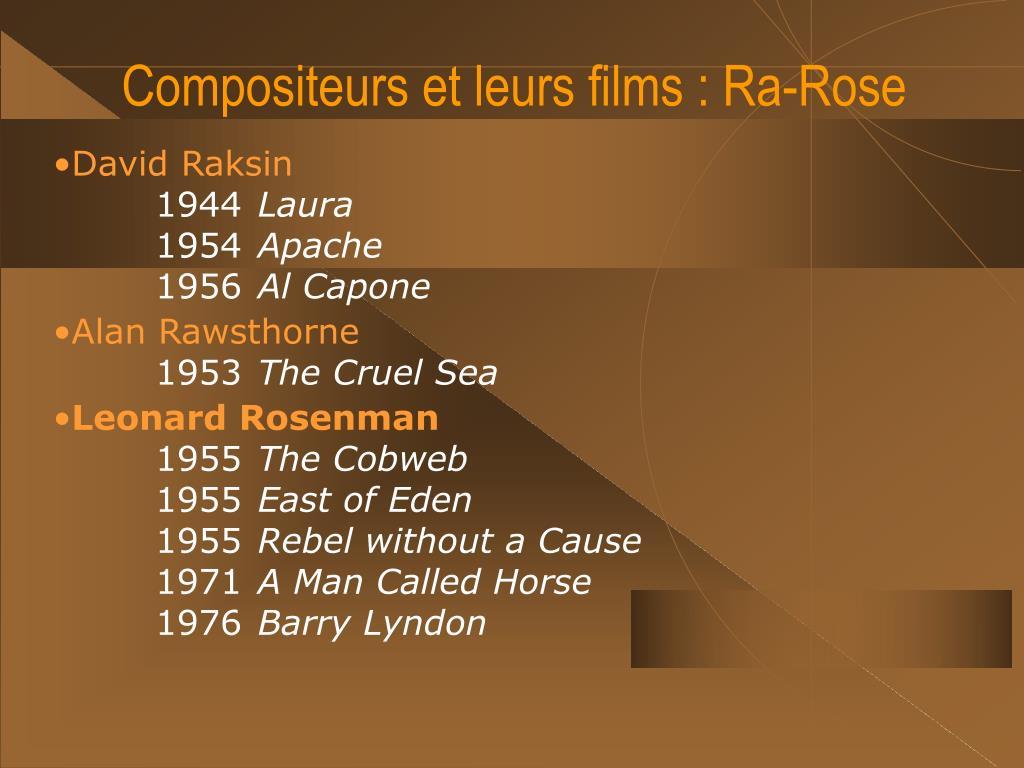 Compositeurs et leurs films : Ra-Rose