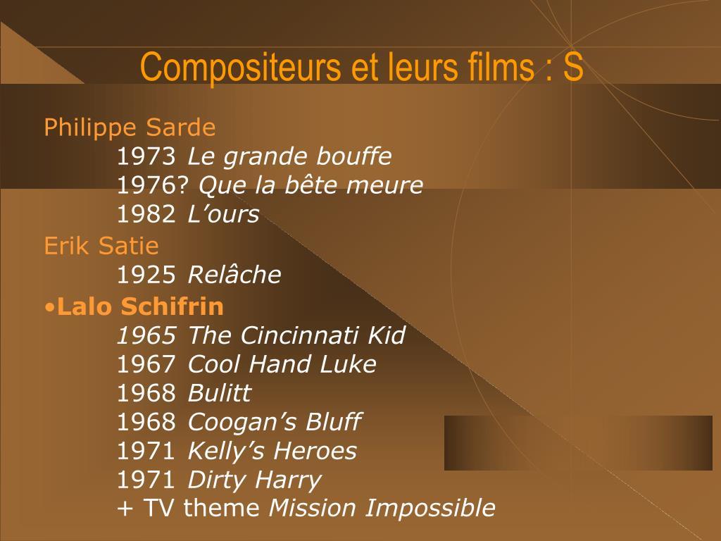 Compositeurs et leurs films : S