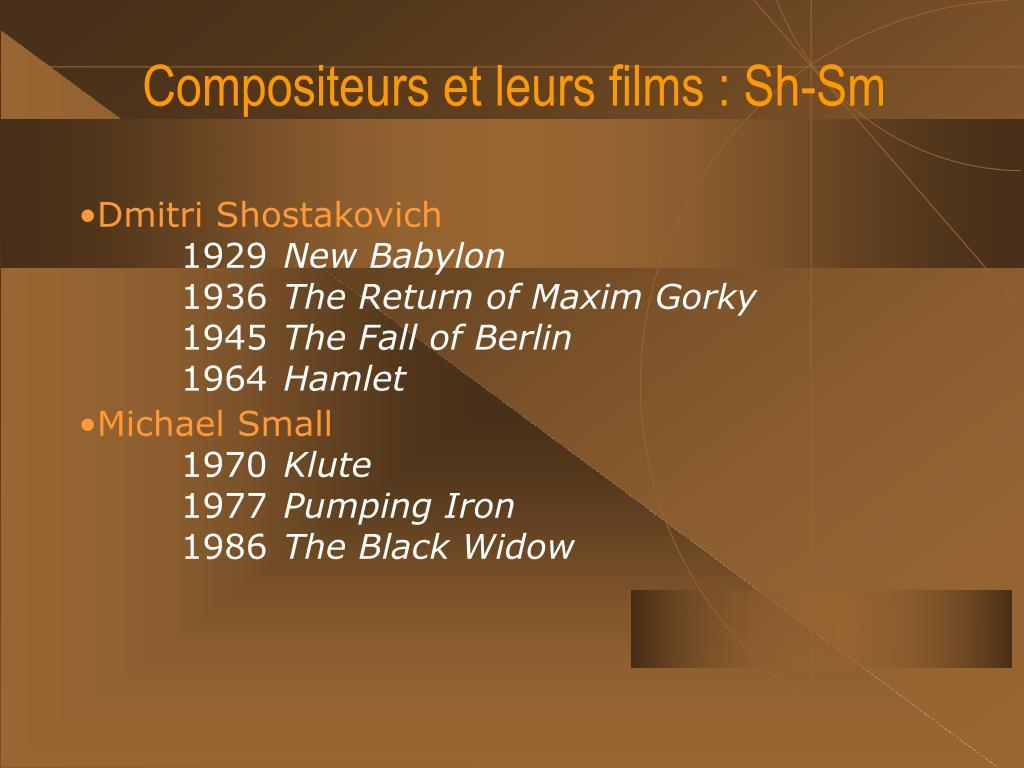 Compositeurs et leurs films : Sh-Sm