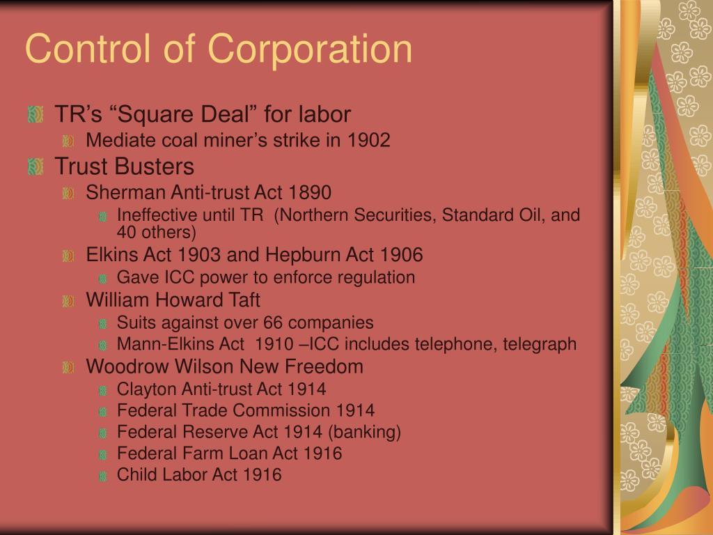 Control of Corporation