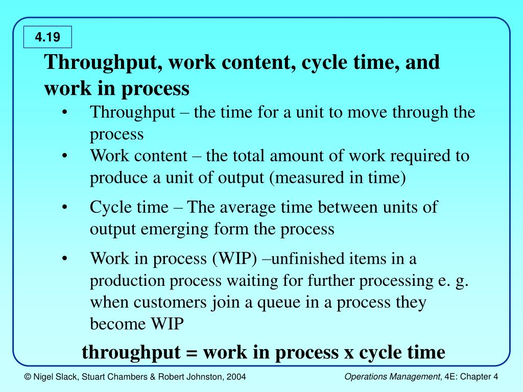 Throughput, work content, cycle time, and work in process