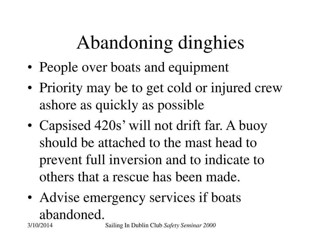 Abandoning dinghies