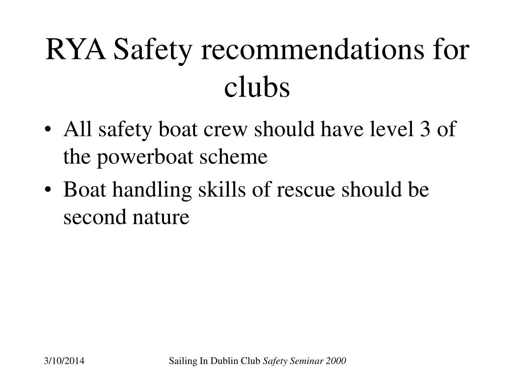 RYA Safety recommendations for clubs