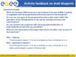 activity feedback on draft blueprint
