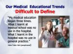 our medical educational trends difficult to define