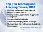 top ten teaching and learning issues 200714