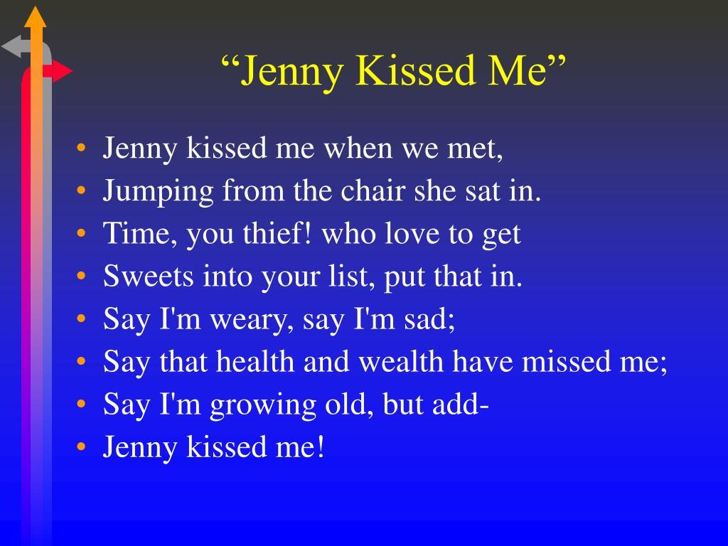 poem jenny kissed me