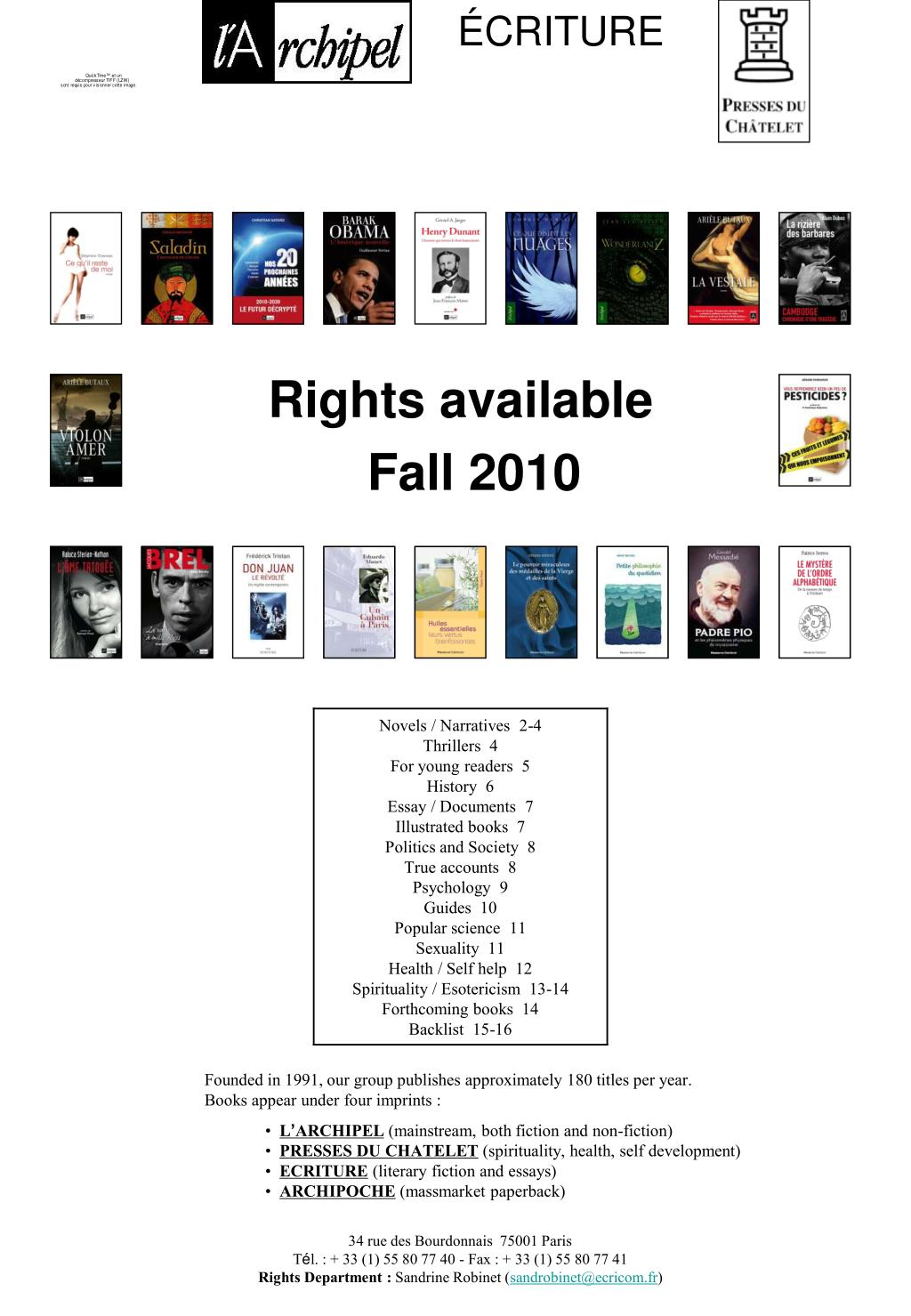rights available fall 2010 l.