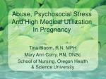 abuse psychosocial stress and high medical utilization in pregnancy