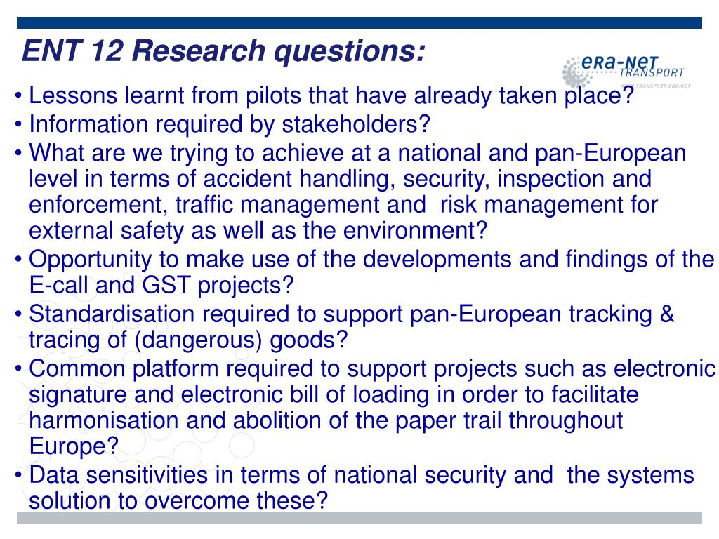 ENT 12 Research questions: