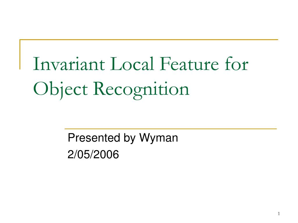 invariant local feature for object recognition l.