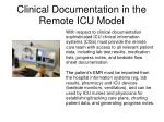 clinical documentation in the remote icu model