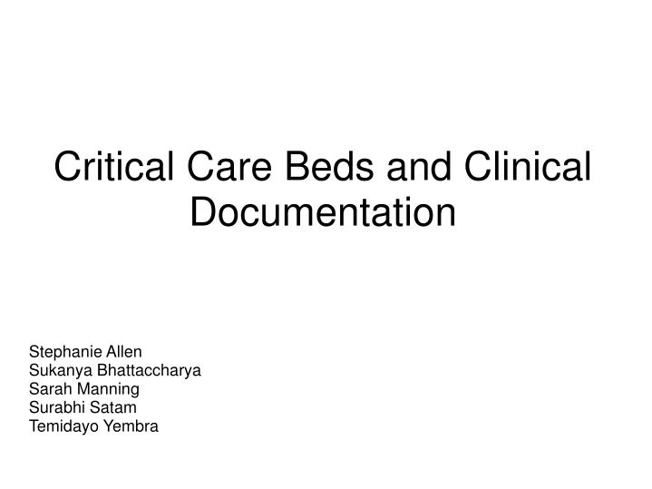 critical care beds and clinical documentation n.