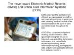 the move toward electronic medical records emrs and critical care information systems ccis