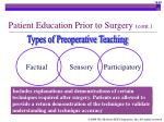 patient education prior to surgery cont32