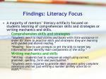 findings literacy focus