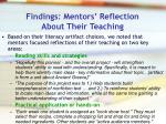 findings mentors reflection about their teaching
