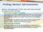 findings mentors self assessment