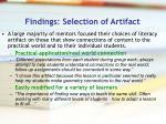 findings selection of artifact