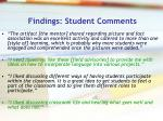 findings student comments