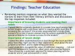 findings teacher education