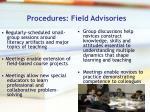 procedures field advisories