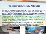procedures literacy artifacts