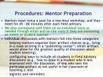 procedures mentor preparation