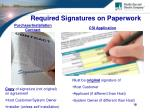 required signatures on paperwork