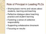 role of principal in leading plcs