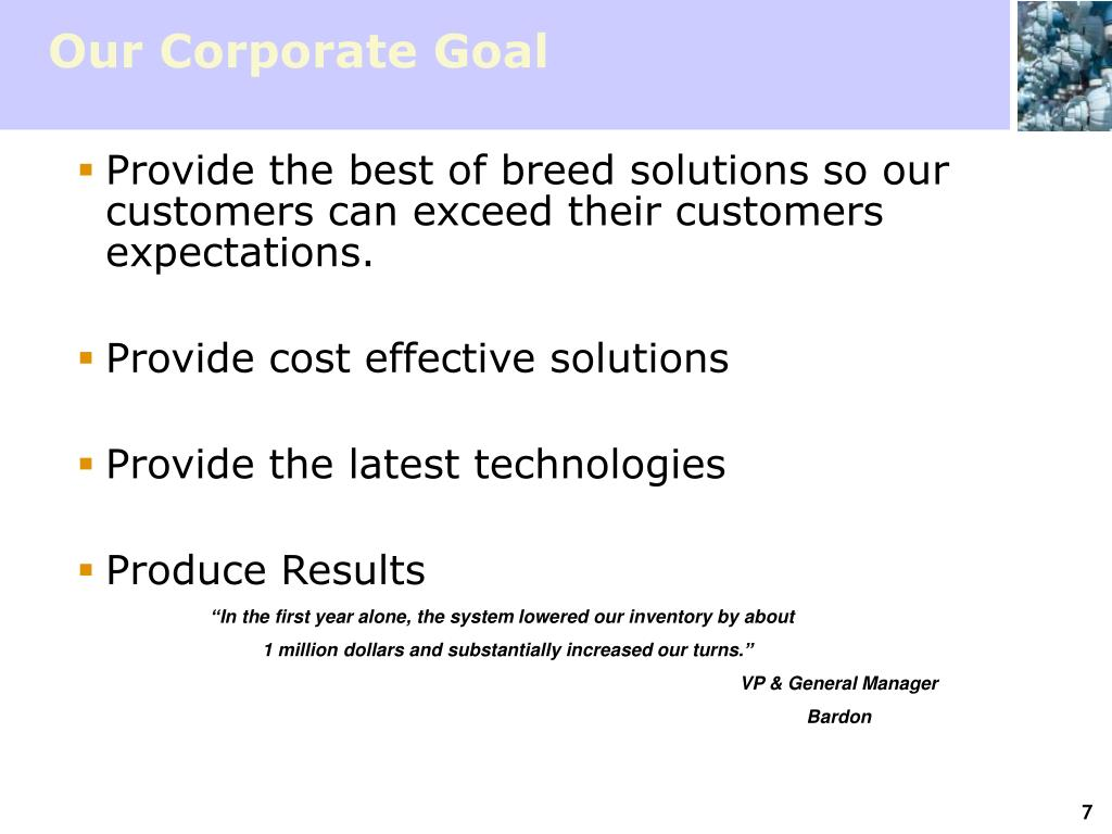 Our Corporate Goal