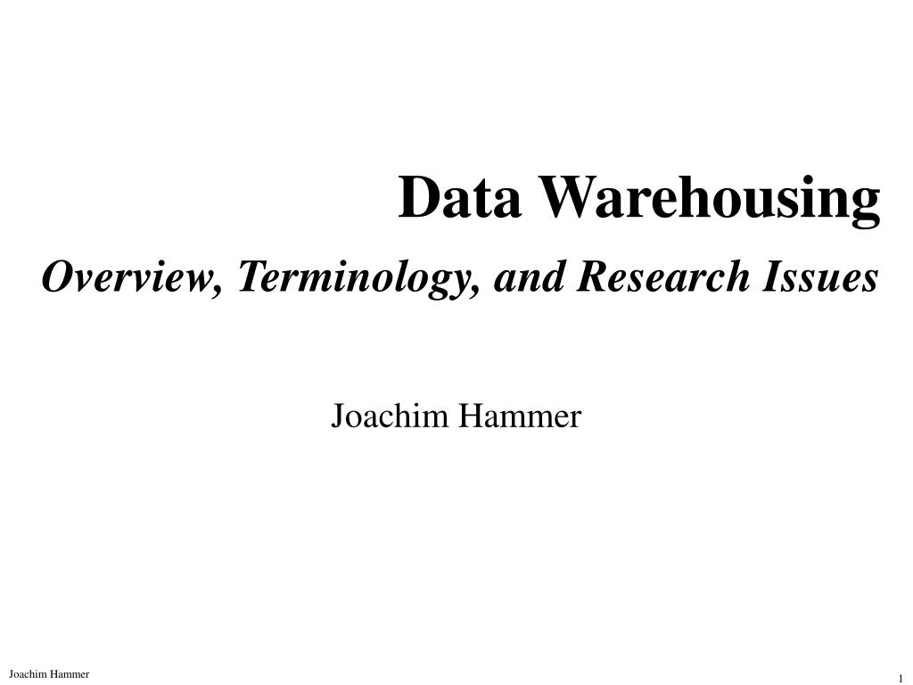 data warehousing overview terminology and research issues l.