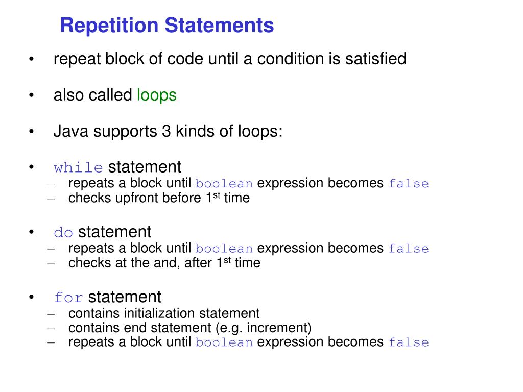 repetition statements l.