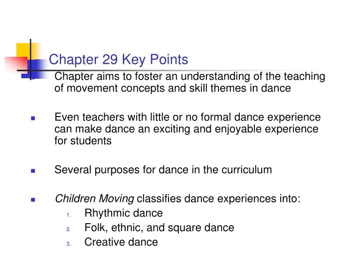 Chapter 29 key points