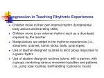 progression in teaching rhythmic experiences