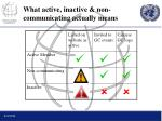 what active inactive non communicating actually means