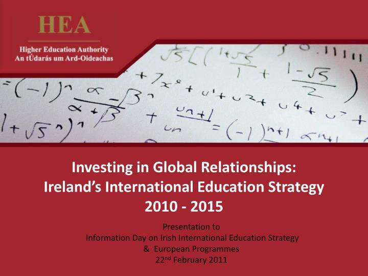investing in global relationships ireland s international education strategy 2010 2015 n.