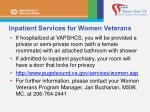 inpatient services for women veterans