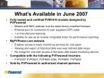 what s available in june 2007
