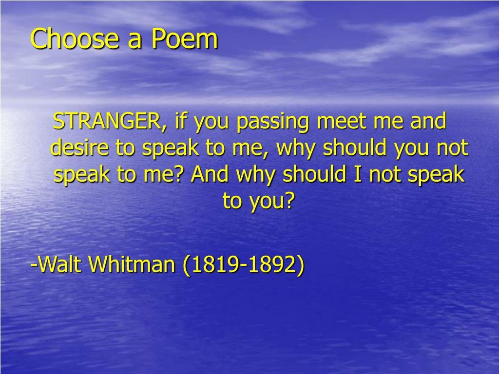 Choose a Poem