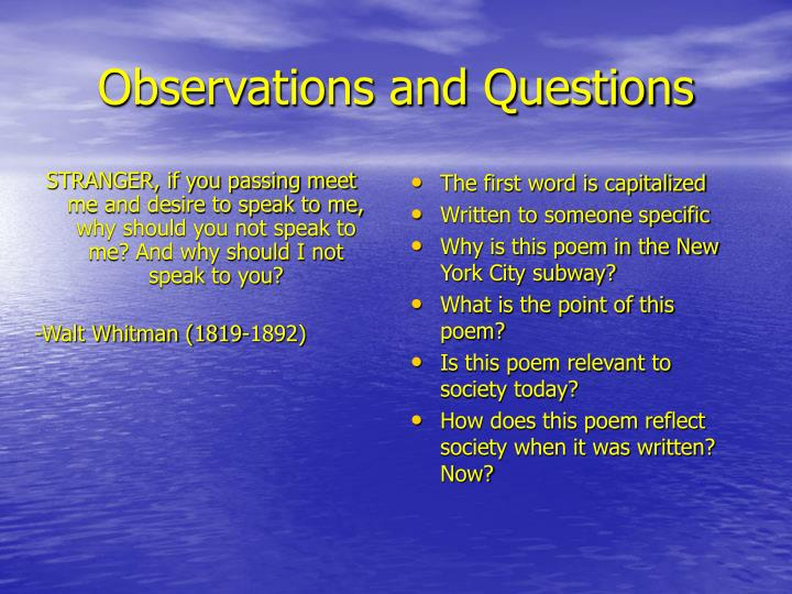 Observations and questions