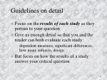 guidelines on detail