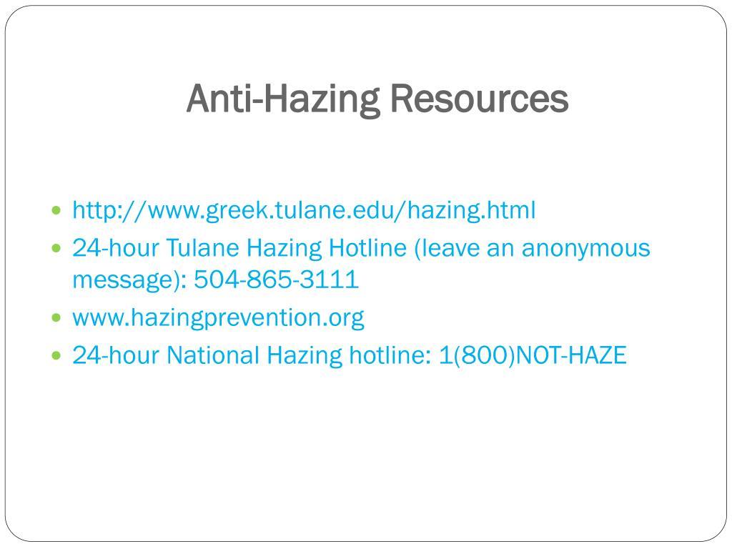 Anti-Hazing Resources