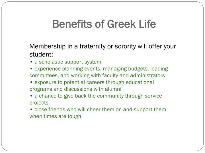 Benefits of greek life