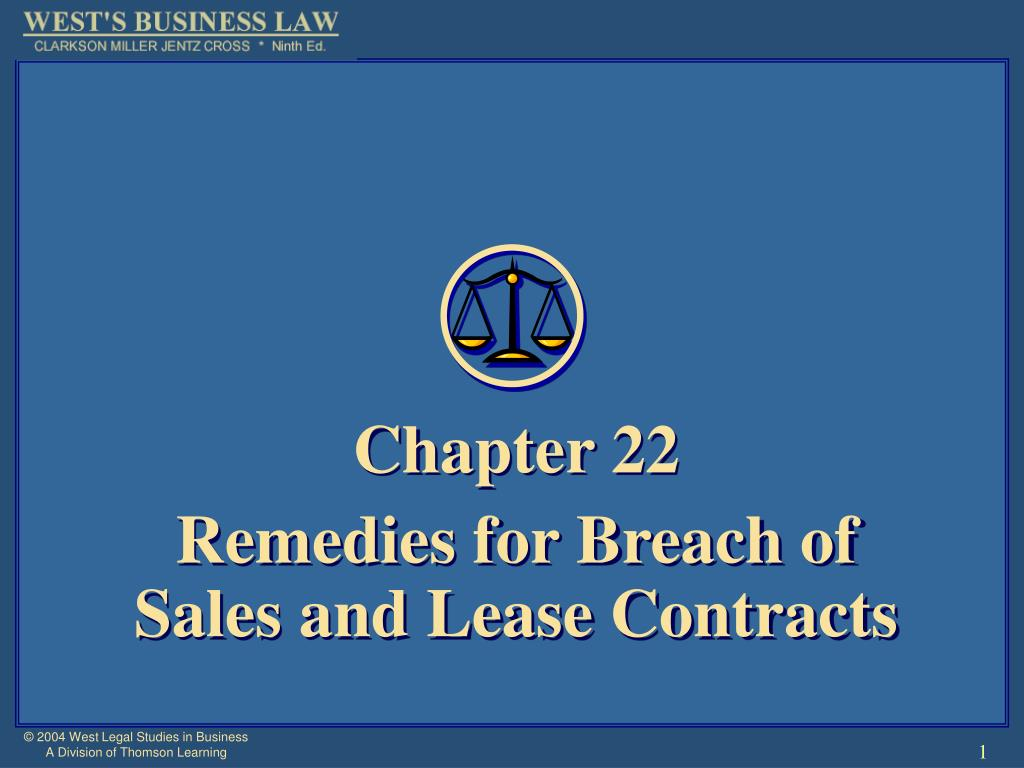 chapter 22 remedies for breach of sales and lease contracts l.