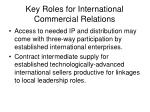 key roles for international commercial relations