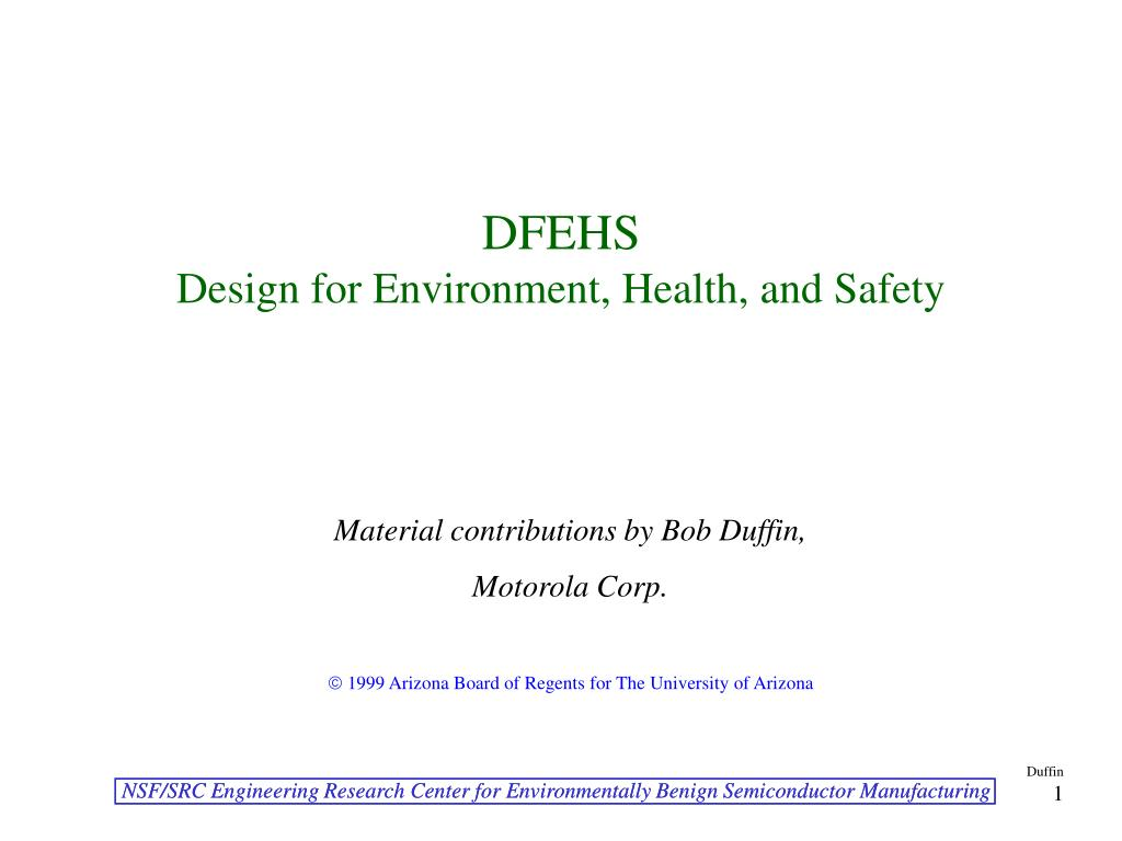 dfehs design for environment health and safety l.